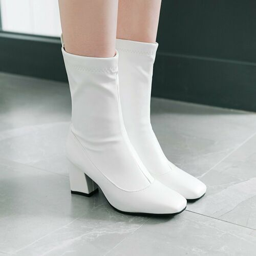 Details about  /Womens Square Toe Stretch Block Heels Pull On Ankle Boots Office Work Outdoor L