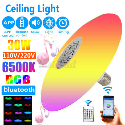 30W E27 LED Ceiling Light RGB bluetooth Music Speaker Dimmable APP With