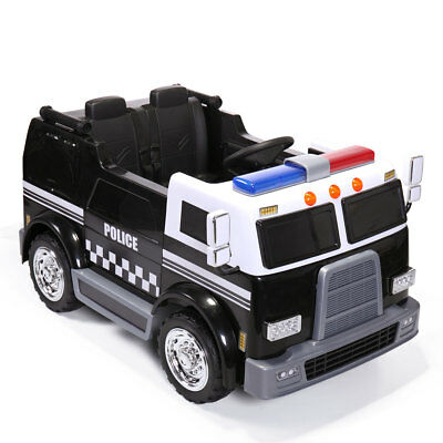Ride On Car Kids Police Truck Electric 12V Battery Powered 2 Seat Toy Vehicle