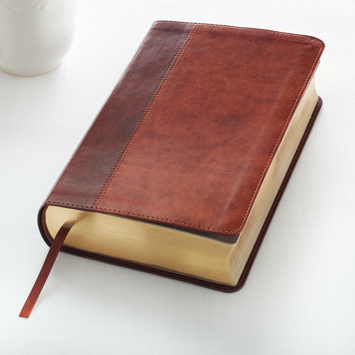 KJV Holy Bible King James Version Two-Tone Tan / Brown Giant Print Faux Leather