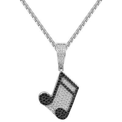 Music Note Pendant 14k White Gold Finish Black Simulated Diamonds Chain Gold Music Note