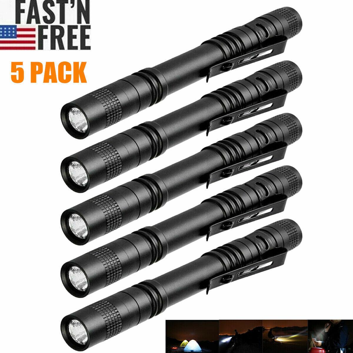 5Pcs XPE-R3 LED Flashlight Portable Pen Torch Lamp Clip Mini Light Penlight US Flashlights & Work Lights