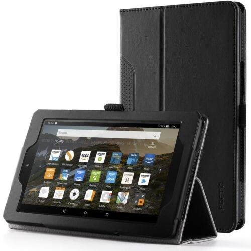 Case For Amazon Fire HD 8 / Fire 7 (2017) Poetic【SlimFolio】Slim Leather Case