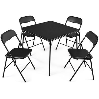 5 PC Black Folding Game Card Dining Table Chair Set Kitchen Meeting School Poker Contemporary Set Game Table