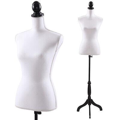 Adjustable Female Mannequin Torso Dress Form Display Tripod Stand Model White