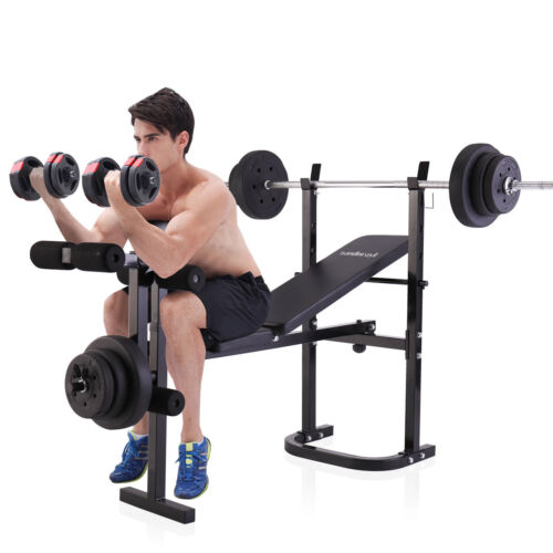 Weight Bench Lifting Press With Home Gym Equipment Exercise Set
