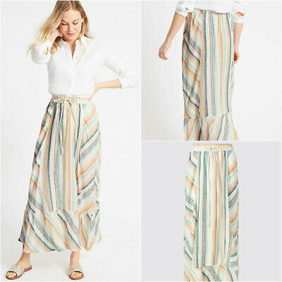 Marks and Spencer M&S Candy Pink Blue Yellow Stripe Linen Maxi Skirt 8-18 - Blue And Yellow Candy
