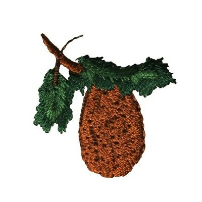 - ID 1450 Pinecone On Tree Branch Patch Limb Forest Embroidered Iron On Applique