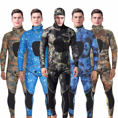 Men 3mm Neoprene 2-Piece Weisuits Camouflage Spearfishing Snorkeling Diving Suit