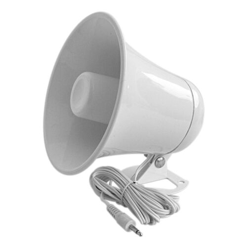 """ACCESSORIES UNLIMITED AUPA5 WHITE PLASTIC 5 1/2"""" PA HORN WITH CABLE & PLUG"""