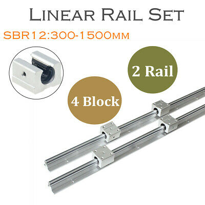 2pcs Sbr12 L300-1500mm Linear Rail Shaft Rod Guide 4pcs Sbr12uu Block For Cnc