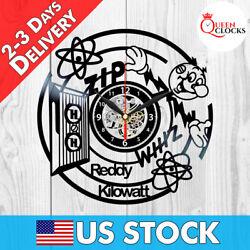 Reddy Kilowatt Vinyl Record Wall Clock Vintage Art Room Decor Electrician Gifts