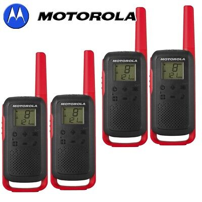 Motorola T62 Two Way Radio Walkie Talkie Red 8KM PMR446 Licence Free Quad Set