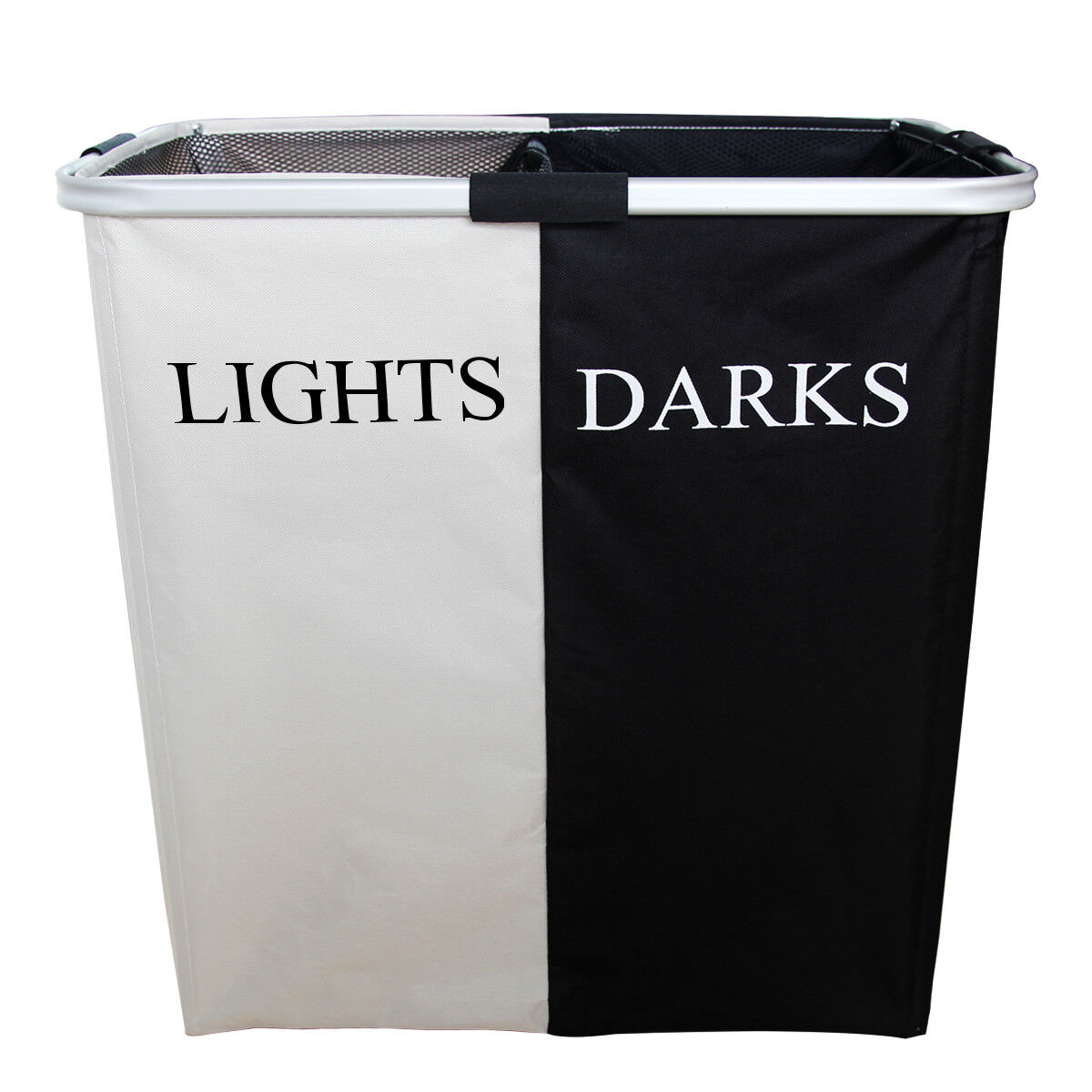 double laundry foldable hamper black and white