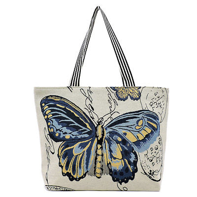 SUMMER BEACH CANVAS TOTE BAGS WITH VARIOUS BUTTERFLY PRINTED DESIGNS