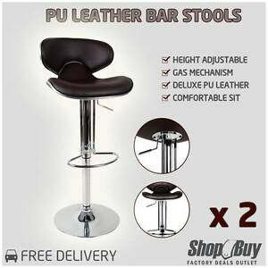 Free Delivery: Set of 2 PU Leather Gas Lift Kitchen Bar Stool Ch Box Hill Whitehorse Area Preview