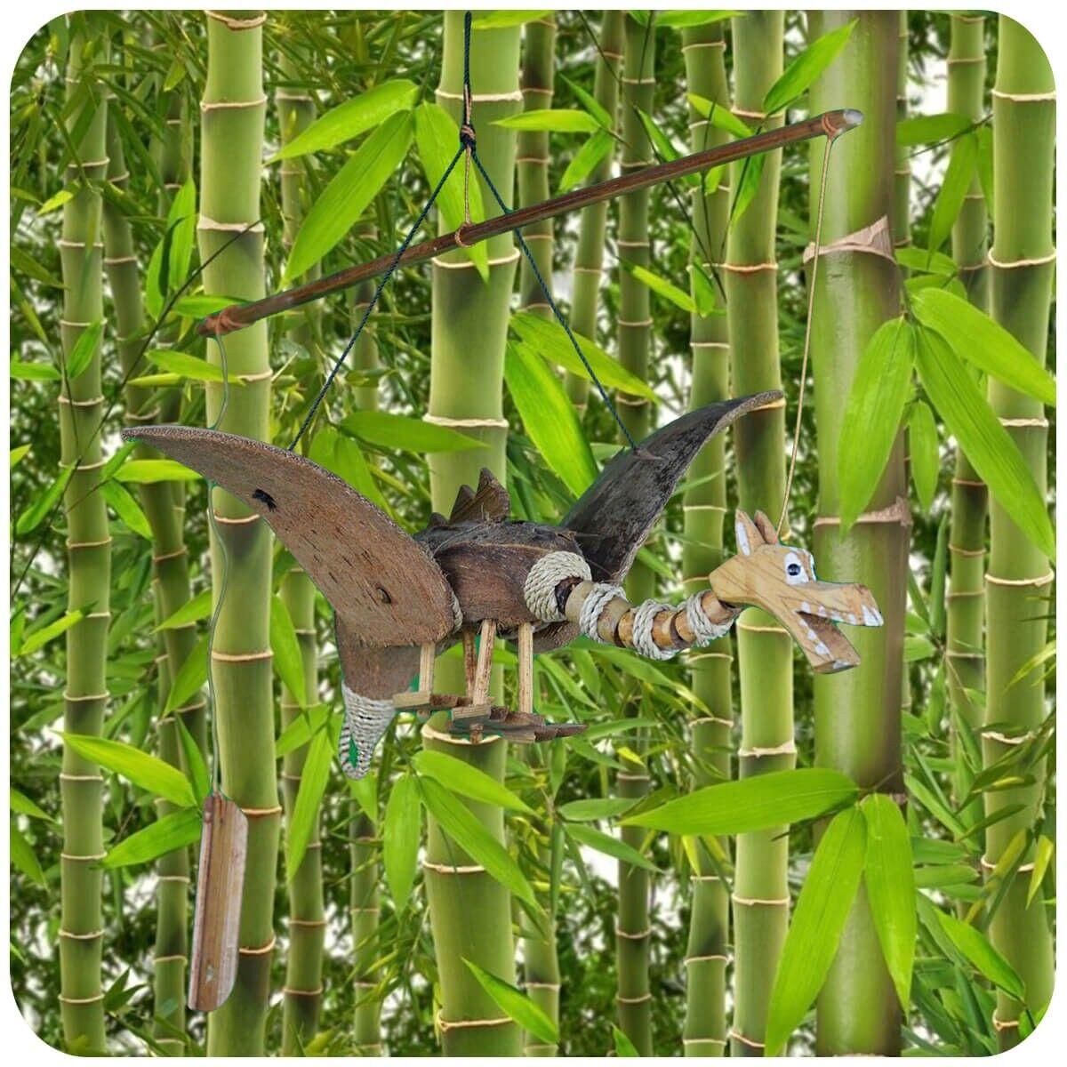Windspiel Klang-Spiel Bambus Holz Deko Mobile Klangröhren Garten Tür Drache
