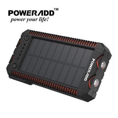 Poweradd Waterproof 12000mAh Dual USB Solar Power Bank Visible Battery Charger