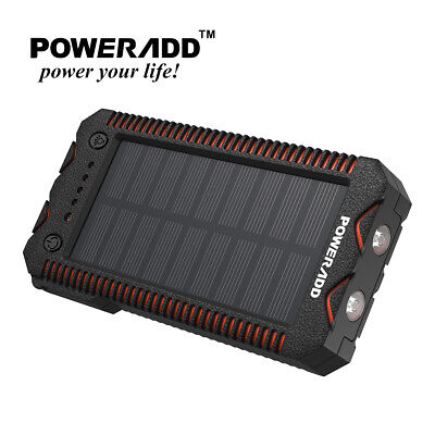 Poweradd Waterproof 12000mAh Dual USB Solar Power Bank Superficial Battery Charger