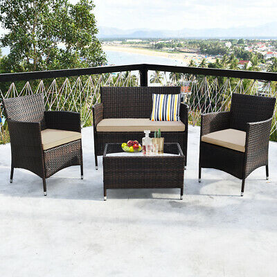 Garden Furniture - 4PCS Rattan Patio Furniture Set Cushioned Sofa Chair Coffee Table Garden