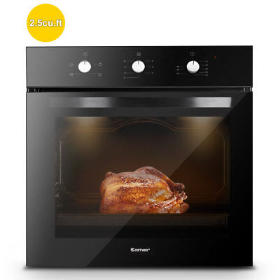 "24"" Electric Built-In Single Wall Oven 220V Tempered Glass Push Buttons Control"