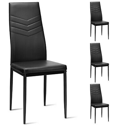 Metal Frame Dining Room Chairs (Set of 4 PVC Dining Side Chairs with Metal Frame High Back Home Kitchen)