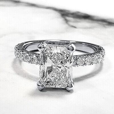 Natural 2.60 Ct Radiant Cut U-Setting Pave Diamond Engagement Ring J VS2 14k GIA 1