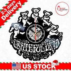 Grateful Dead Logo Bears Vinyl Record Wall Clock Art Room Decor Christmas Gifts