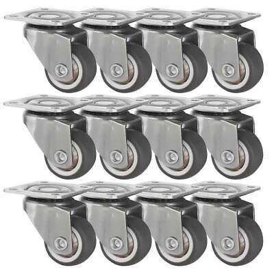 12 Pack 1 Low Profile Swivel Plate Brown Rubber Caster Wheels