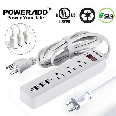 Poweradd 3 Outlet Socket Power Strip Surge Protector 3 USB Port Charger Adapter