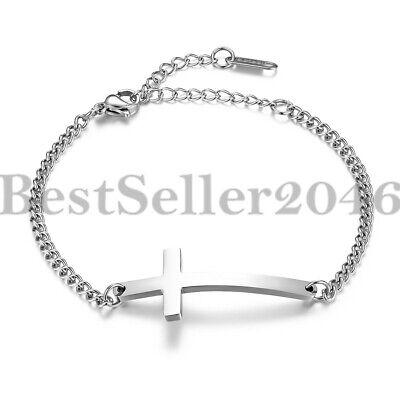 Women Christian Sideways Cross Religious Chain Stainless Steel Bracelet Anklet