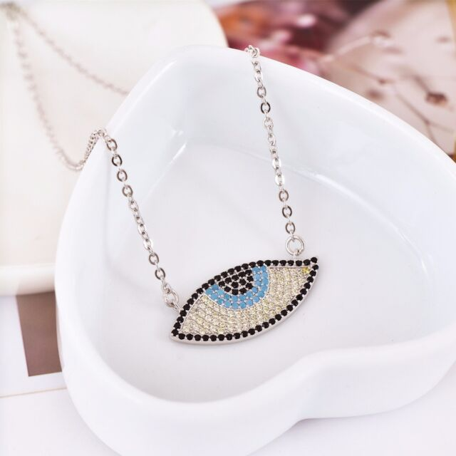 925 sterling silver cz sapphire evil eye greek mati nazar pendant new 925 sterling silver cz sapphire evil eye greek mati nazar pendant necklace mozeypictures Image collections