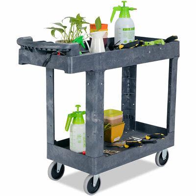 Plastic Utility Rolling Service Cart 550lbs Capacity W2 Shelve 41 X 17 X 34