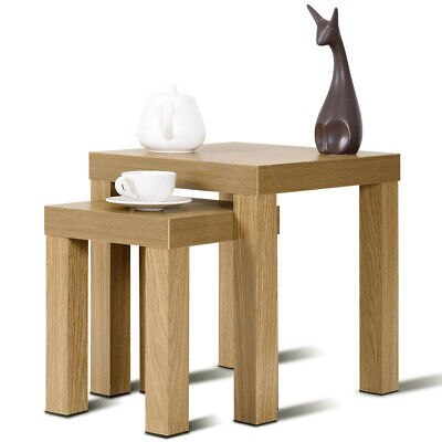 Set Of 2 Nesting Coffee End Table Accent Wooden Living Room Bedroom Furniture