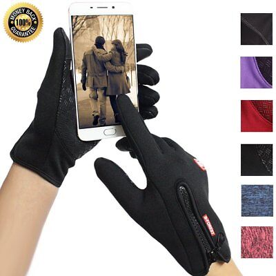 Unisex Cycling Touchscreen Gloves Winter Fleece Warm Waterproof Running Skiing