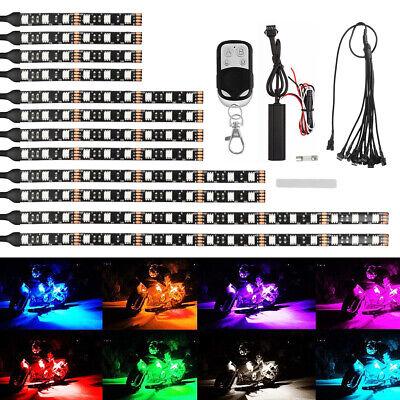 12Pcs Motorcycle RGB 120LED Neon Under Glow Lights Strip Kit For Harley Davidson