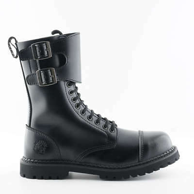 Grinders Unisex Camelot CS Black 14 Eyelet Twin Buckle Safety Steel Toe Boots 14 Eyelet Steel Toe Boot