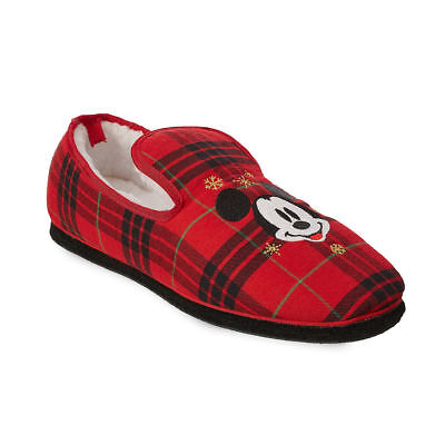 Disney Authentic Mickey Mouse Plaid Holiday Soft Slippers Shoes for Adults - Disney Shoes For Adults