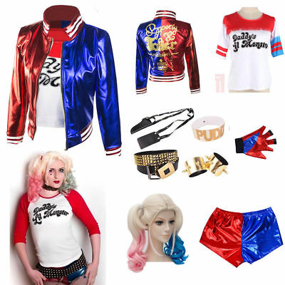 Kids Girls Suicide Squad Harley Quinn Coat Shorts Top Set Halloween Costume Lot