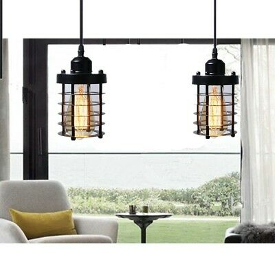 Cage Pendant Light Black Fixture Vintage Industrial Hanging Ceiling Set 2 Mini  ()