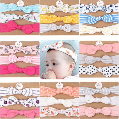 3pcs Newborn Headband Ribbon Elastic Turban Cute Bowknot Infant Accessories