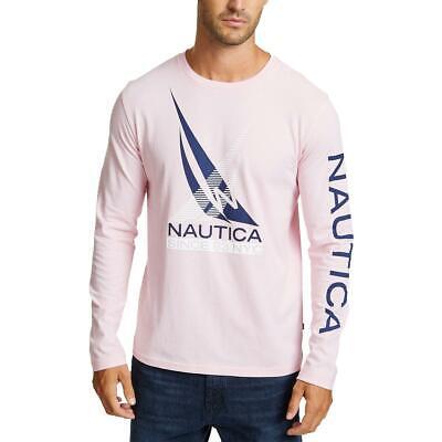 Nautica Mens Pink Logo Crew Neck Long Sleeves T-Shirt Top XXL BHFO 2474