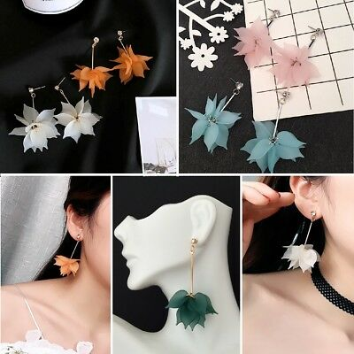 (Multi Flower Petals Drop Dangle Earrings With Crystal Rhinestone Stud)