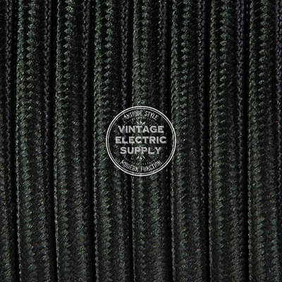 Black Parallel (Flat) Cloth Covered Wire - Antique Lamp Cord - UL Listed