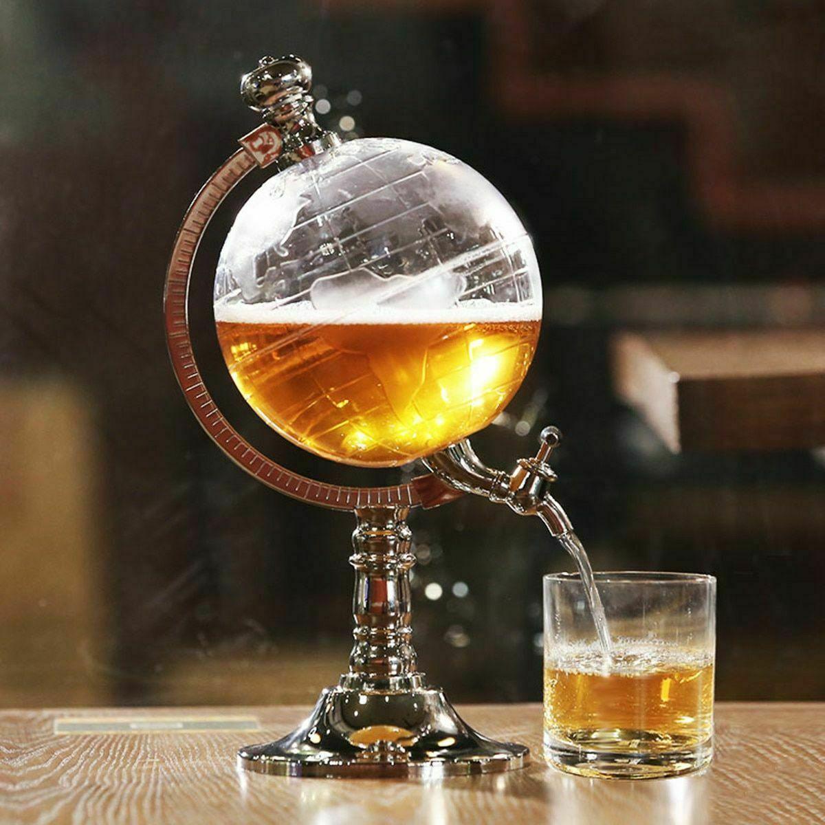 1L Globe Shaped Beverage Liquor Dispenser Drink Wine Beer Pump Decanter Tap
