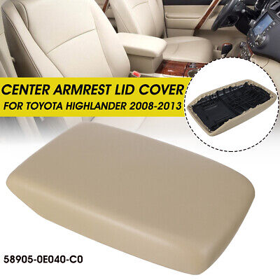 Fits For 2008 2013 ToyotaHighlander Center Console Lid Armrest Cover PU Leather