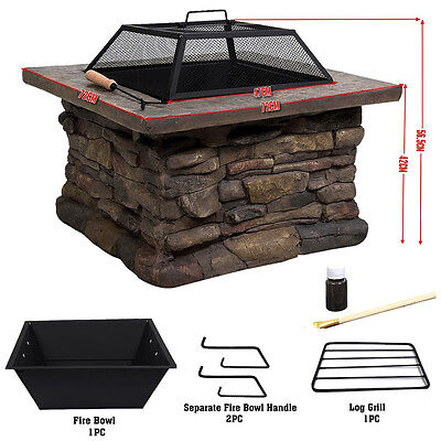 "29"" Outdoor Garden Patio Fire Pit Brazier BBQ Firepit Square  Metal Stove Heater"