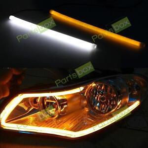 2x 30cm Car Switchback Tube Strip LED White Amber DRL Daytime Running Light