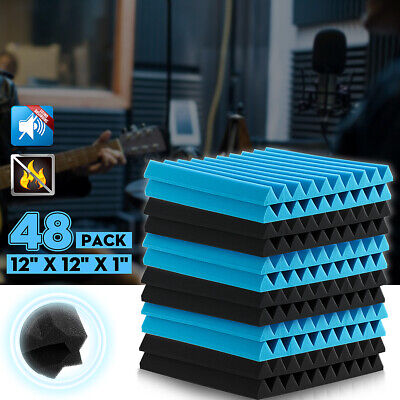 48Pack Acoustic Foam Wall Sound Absorption Tiles Studio Panels 12''x12''x1''