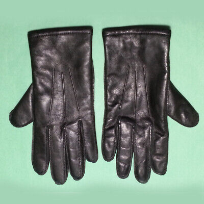 """Fownes Men Genuine Leather Size M Black Cashmere Lining 9.5"""" long 3.75"""" wide"""